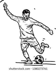 A soccer player taking a free-kick. Hand drawn vector illustration.