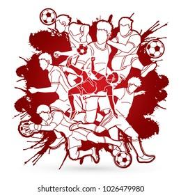 Soccer player team composition designed on splatter blood background graphic vector.