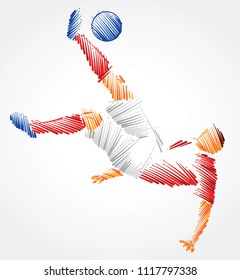 Soccer player trying to kick the ball made of colorful brushstrokes on light background