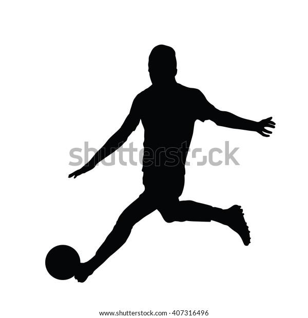Soccer Player Vector Silhouette Running Man Stock