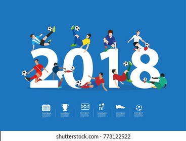 Soccer players in action on 2018 new year, Vector illustration layout template design