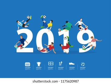 Soccer players in action on 2019 new year, Vector illustration layout template design