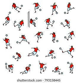 Soccer players with ball  icons set. Collection of minimalistic doodle sportsmen in action. Vector illustration with football team on training