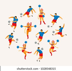 Soccer players and cheerleaders girls in Russian style. Flat vector illustration. Design element.
