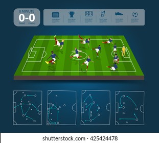 Soccer players in different positions with soccer field with team formation, Creative drawing strategy plan manager, vector illustration template layout design