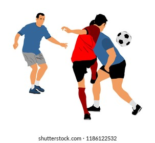 Soccer players in duel vector illustration isolated on white background. Football player battle for the ball and position