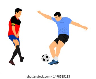 Soccer players in duel vector illustration isolated on white background. Football player battle for the ball and position. Sport activity people. Man competition. Handsome boy play soccer with friend.