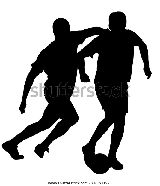 Soccer Players Duel Vector Silhouette Illustration Stock