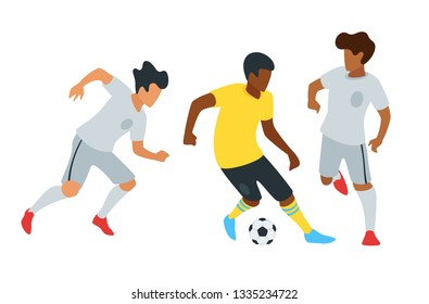 Soccer players faceless silhouettes. Football match championship background. Vector illustration.