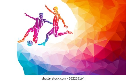 Soccer players. Footballers kicks the ball in trendy abstract colorful polygon style with rainbow back