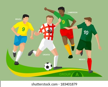 Soccer players Group A, illustration vector design.