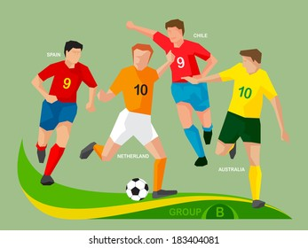 Soccer players Group B,  illustration vector design.
