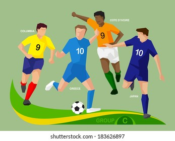 Soccer players group C,  illustration vector design.