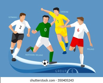 Soccer players group C, polygon, simple design.