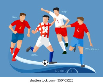 Soccer players group D, polygon, simple design.