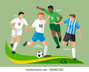 Soccer players group F, illustration vector design.