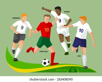 Soccer players group G, illustration vector design.