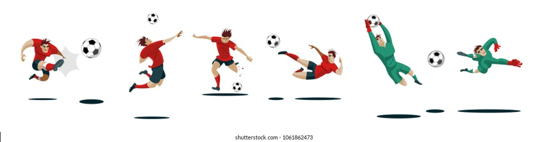 Soccer Players Kicking Ball and goalkeepers. Set Collection of different poses. Vector Illustration