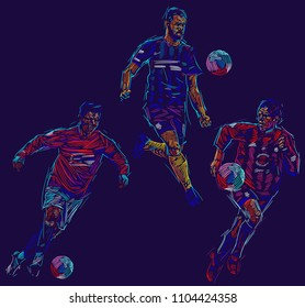 Soccer players kicking ball. Vector illustration. Sports background  EPS 10 format.