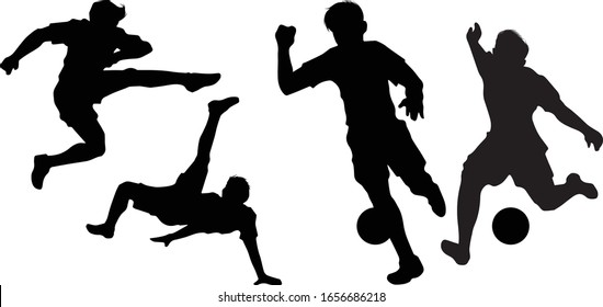 Soccer Players Kicking Bicycle Kick Sports Silhouettes Vector