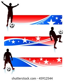 Soccer Players with Patriotic Banners Original Vector Illustration