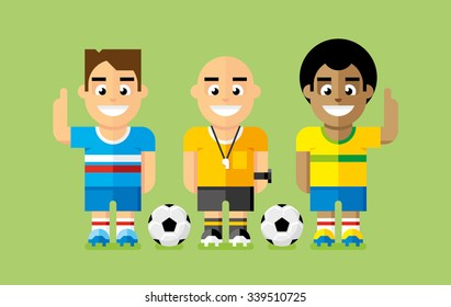 Soccer Players and Referee