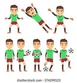 Soccer players set vector illustration isolated white. Field players and goalkeeper
