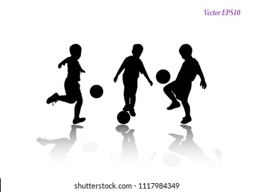 Soccer players silhouettes of kids collection. Full body of child in sportswear playing football. Different poses. Isolated on white background. Vector illustration. EPS10