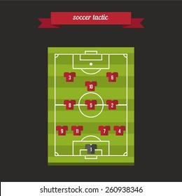Soccer players team formation tactic. Flat style design - vector.