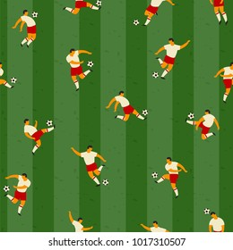 Soccer players. Vector seamless pattern. Design element.