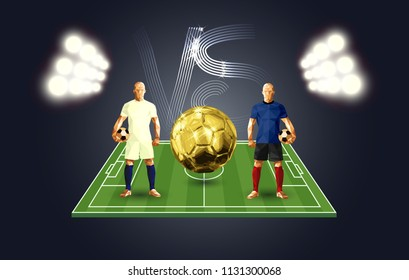 soccer players versus each other banner low-poly style France versus Croatia