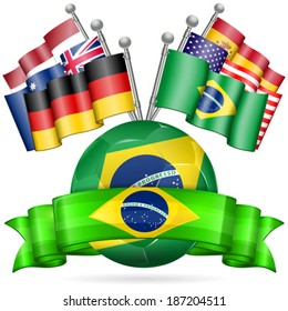 Soccer Poster with Soccer Ball, Flags, and Ribbon in Color Flag Brazil, vector isolated on white background