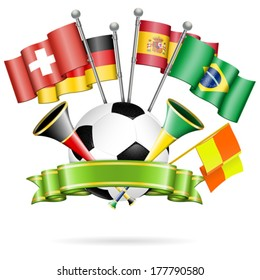 Soccer Poster with Soccer Ball, Flags, vuvuzela and ribbon, vector isolated on white background