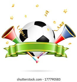 Soccer Poster with Soccer Ball, vuvuzela, ribbon and golden streamer, vector isolated on white background