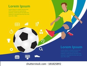 Soccer poster Brazil, vector illustration template design
