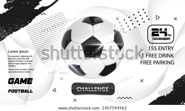 Soccer Poster design. Football Ball flyer concept. Design For Sport Bar ticket sale sport promotion. Tournament, Championship Flyer Design. Vector Soccer Sport Club, Academy Flyer or Invitation