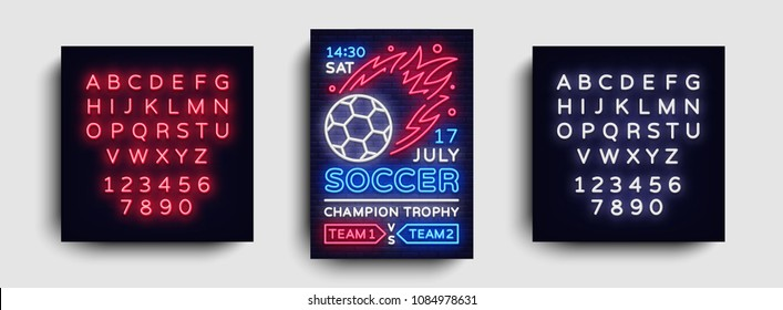 Soccer poster neon vector. Football postcard flyer design template, light banner, bright brochure soccer championship, invitation to European football, typography. Vector. Editing text neon sign