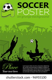 Soccer Poster with Players and Fans on grunge background, element for design. Vector illustration