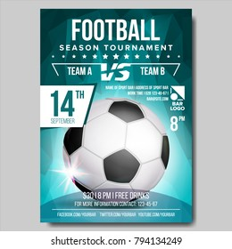 Soccer Poster Vector. Banner Advertising. Sport Event Announcement. Ball. Announcement, Game, League Design. Championship Illustration