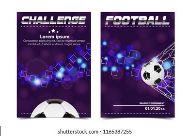 Soccer Poster Vector. Football Ball. Design For Sport Bar Promotion. Tournament, Championship Flyer Design. Football Club, Academy Flyer. Invitation Illustration.