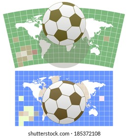 Soccer poster,set. Soccer ball on background symbolic unfolded map of the world