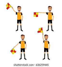 Soccer referee with signal flag in hand. Checkered flag signs.