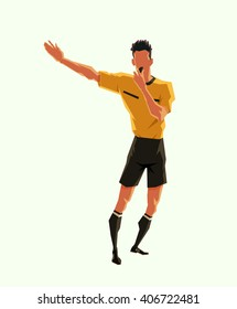 soccer referee signaled a penalty. vector illustration with sport character