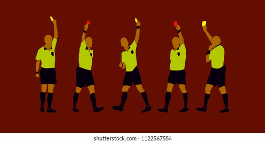 soccer referee yellow red cards team vector design wallpaper sport