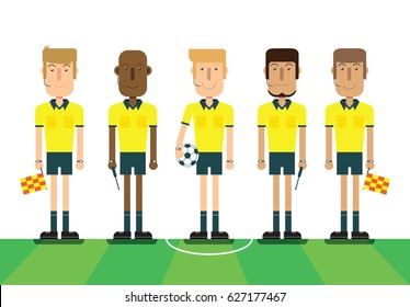 Soccer referees, football referees on white background. Flat design people characters. vector illustration.