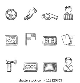 Soccer related icon series in sketch