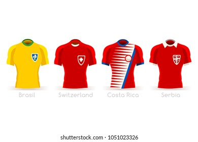 Soccer russia world cup 2018 a group E of players with team shirts flags and ball. referee football vector illustration.