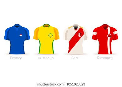 Soccer russia world cup a group C of players with team shirts flags and ball. referee football vector illustration.