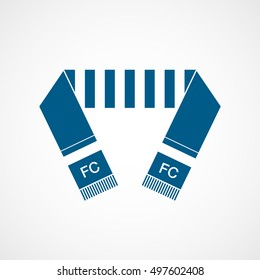 Soccer Scarf Blue Flat Icon On White Background