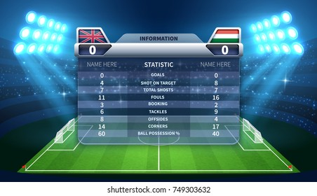 Soccer scoreboard and football stadium vector mockup. Soccer stadium and scoreboard with information game illustration